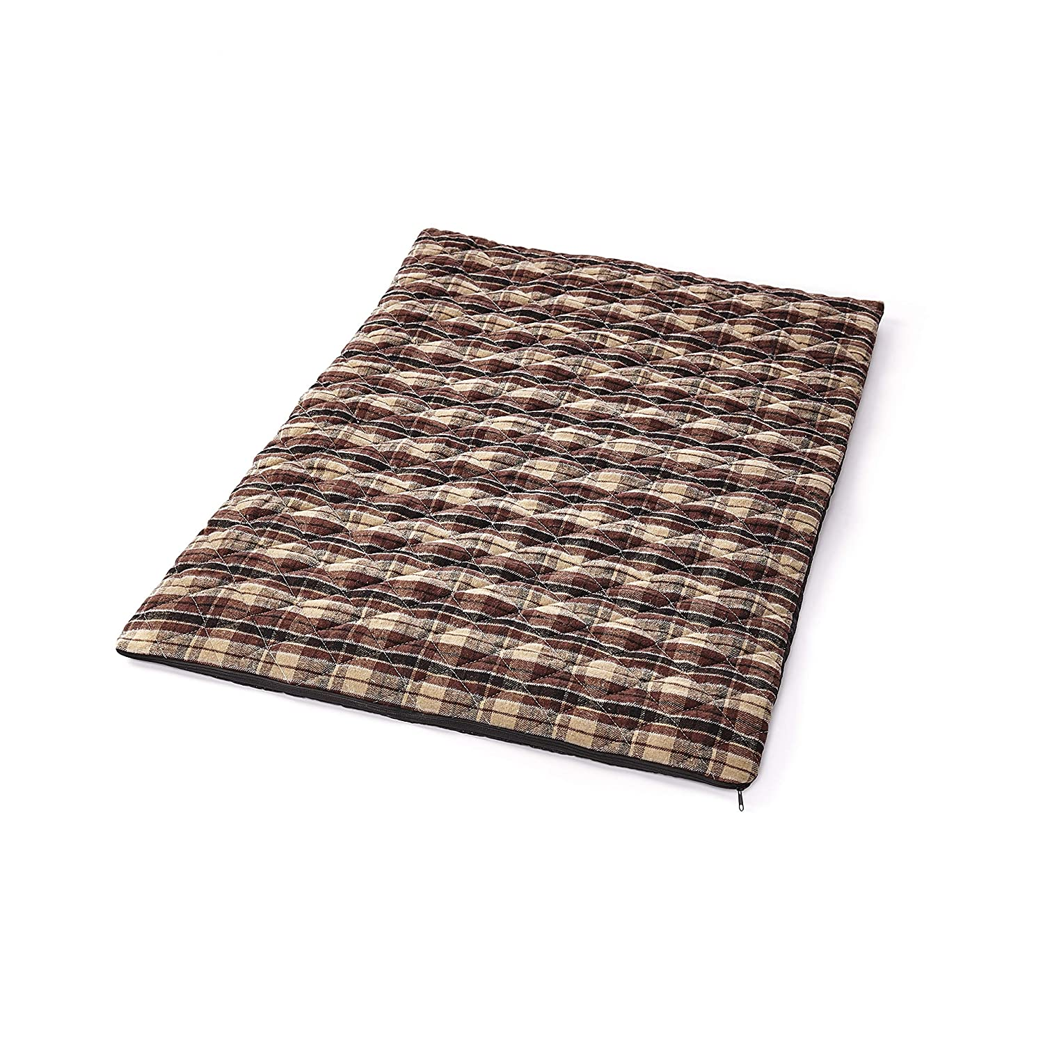 The Lakeside Collection Self-Warming Pet Bed - Thermal Quilted Brown Plaid - Large