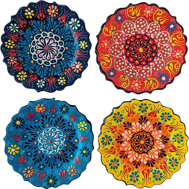 Amazon Com Ayennur Turkish Decorative Small Plates Set Of 4 5 11 13 Cm Multicolor Handmade Ceramic Ornament For Home Office Wall Decors Multi 1 Kitchen Dining