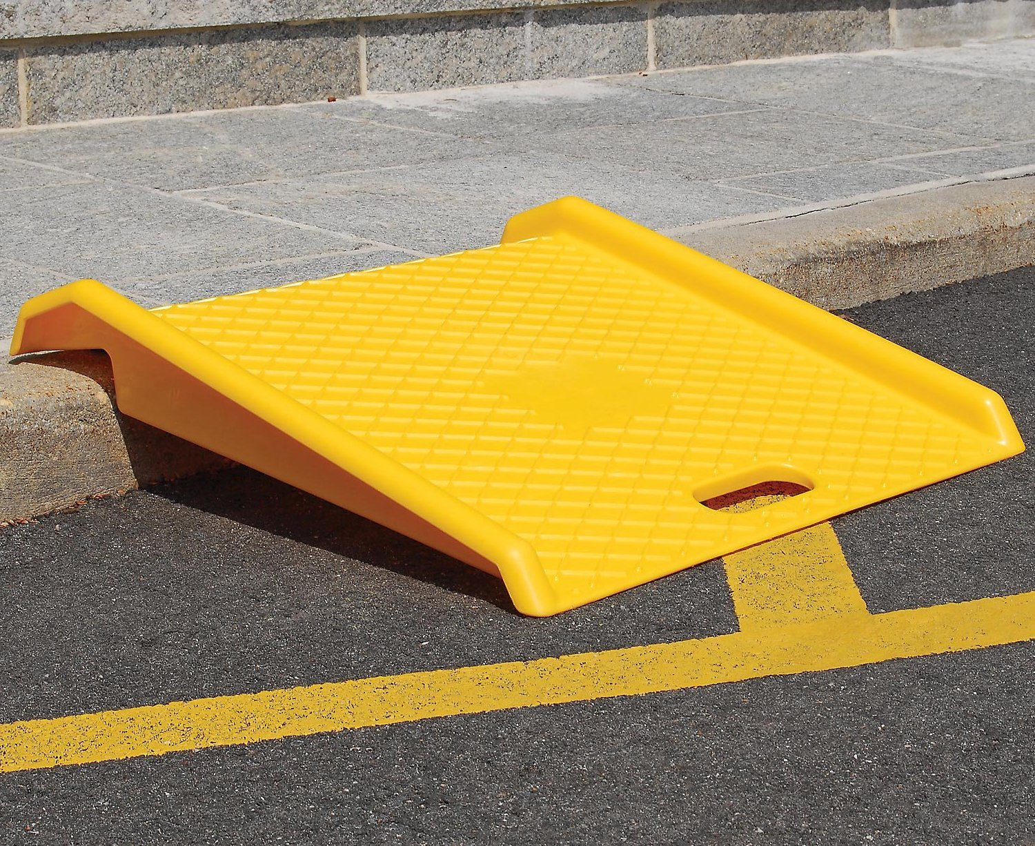 Curb Ramp - Heavy Duty 1000 Lbs Load Capacity - Yellow High Density Polyethylene for Hand Truck Delivery by BUNKERWALL (Image #5)