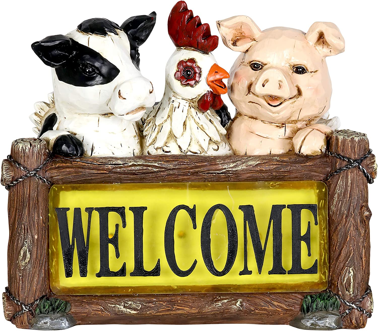 Exhart Solar Farm Animals Welcome Sign Garden Statue - Hand-Painted Welcome Resin Statue of a Chicken, Pig & Cow w/Solar LED Decor Lights – Solar Welcome Sign Farm Animals Decor, 11 x 10""
