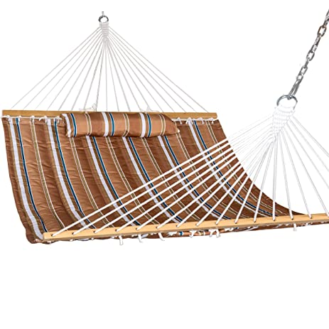 Prime Garden Hammock Quilted Double Fabric With Pillow, Hardwood Spreader  Bars Heavy Duty Stylish 450lbs
