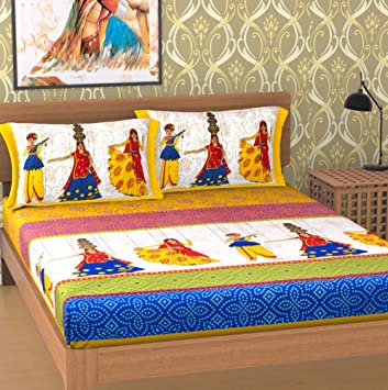 EMART 100% Premium Cotton, 104 TC, Double Bedsheet (213cm x 235cm) with Two Pillow Cover (43cmx 65cm) Rajasthani Print (Yellow)