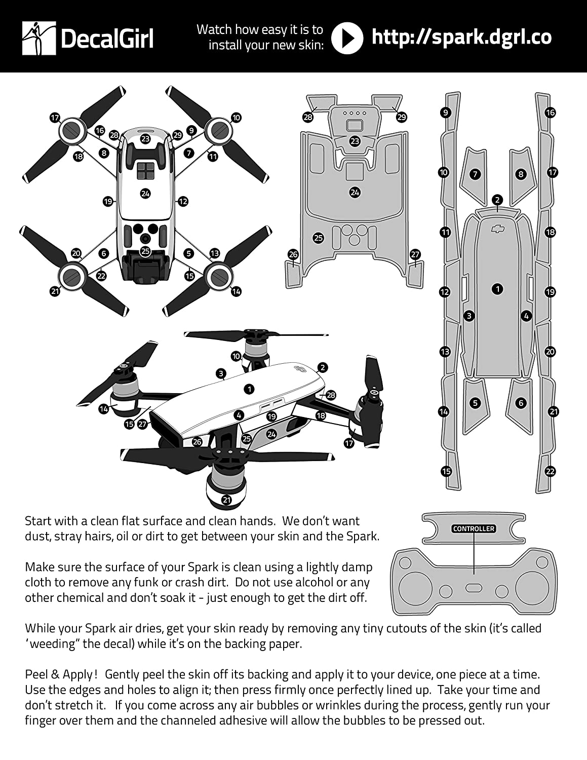 Includes Drone Skin FC Camo Decal for Drone DJI Spark Kit Controller Skin and 1 Battery Skin DecalGirl