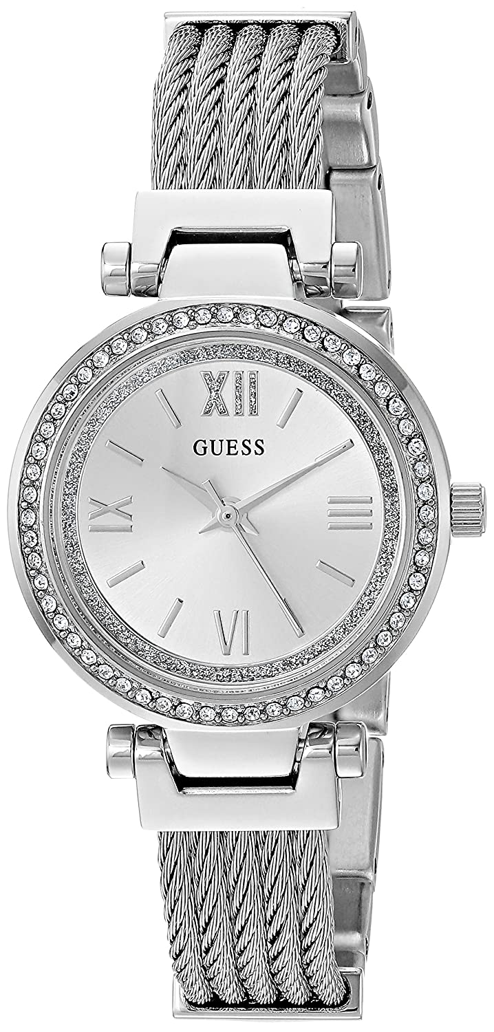 012a68031f5a Amazon.com  GUESS Stainless Steel Wire Bangle Bracelet Watch with Self- Adjustable Links. Color  Silver-Tone (Model  U1009L1)  Watches