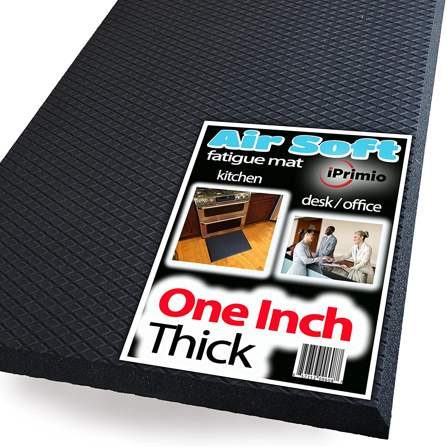 Extra Thick ONE INCH, Standing Anti Fatigue AIR SOFT Mat - LARGE Size 36x24 Soft Standing Mat for Office, Ergonomic, Counter, Standing Desk Floor Mat, Fatigue Kitchen Mat, Fatigue Floor Mat, iPrimio FATIGUEMATJASON
