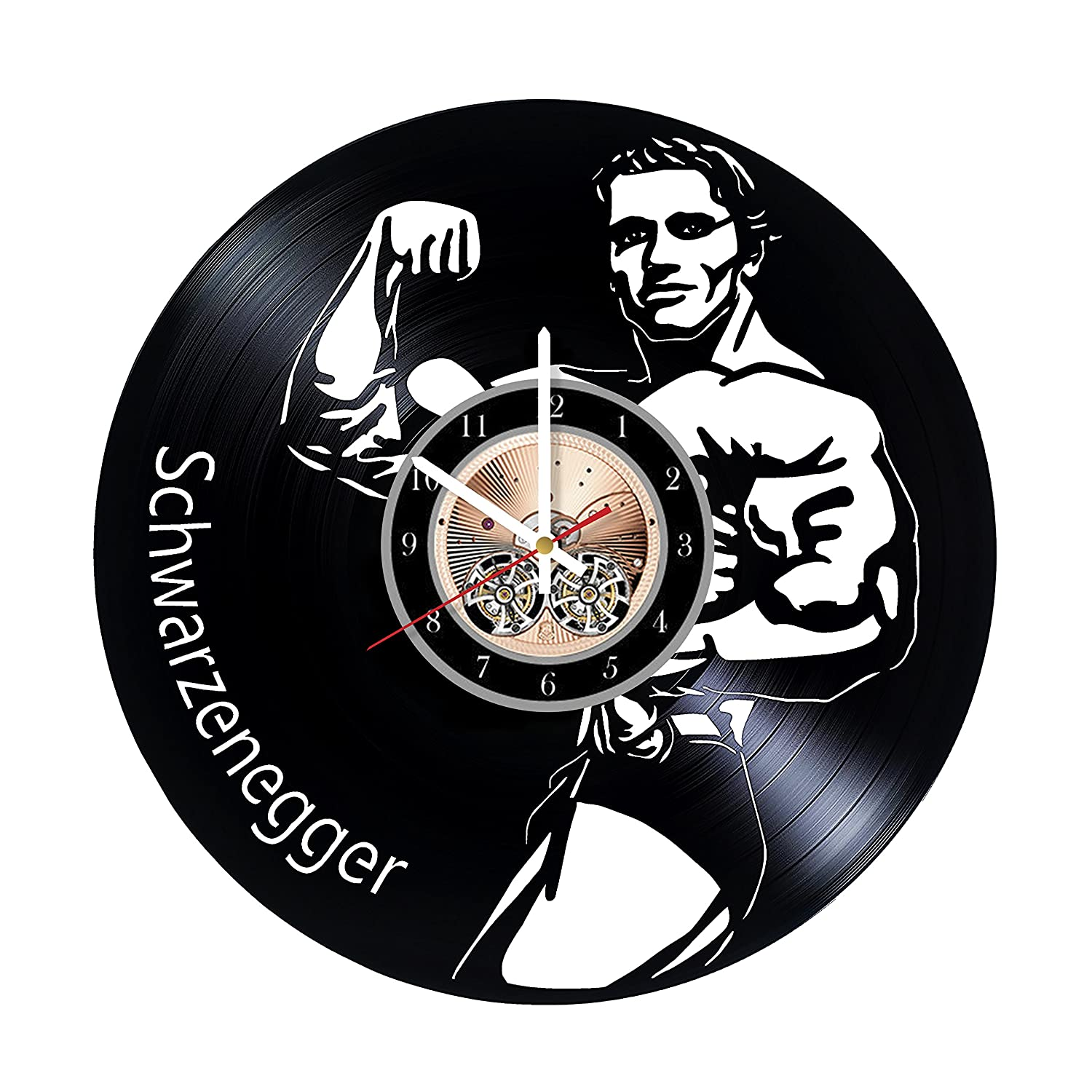 Arnold Schwarzenegger American Actor HANDMADE Vinyl Record Wall Clock - Get unique bedroom or living room wall decor - Gift ideas for him and her