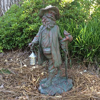 Awesome Lucky Irish Leprechaun Garden Statue With Mouse On Cane In Patina