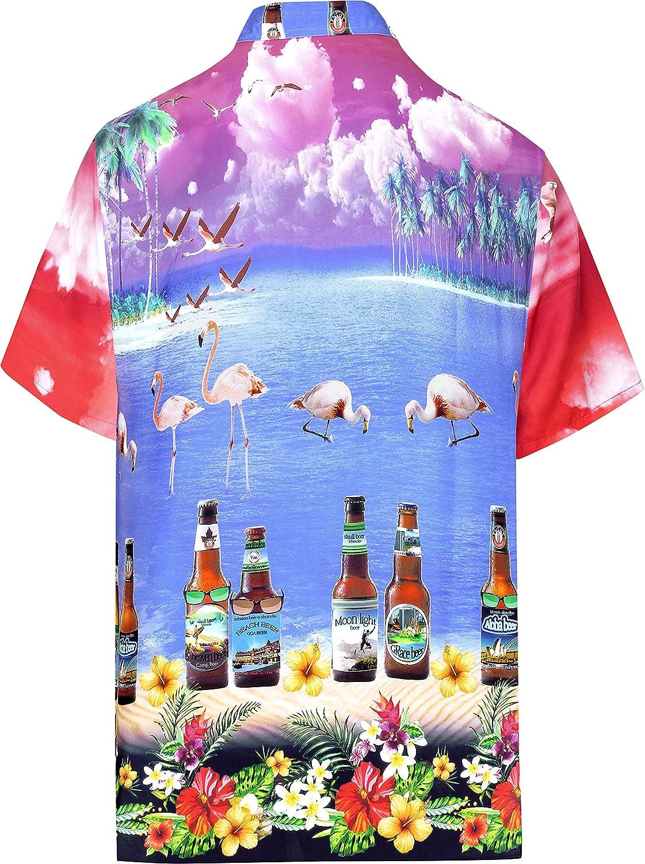 LA LEELA Mens Aloha Hawaiian Shirt Short Sleeve Button Down Casual Beach Party
