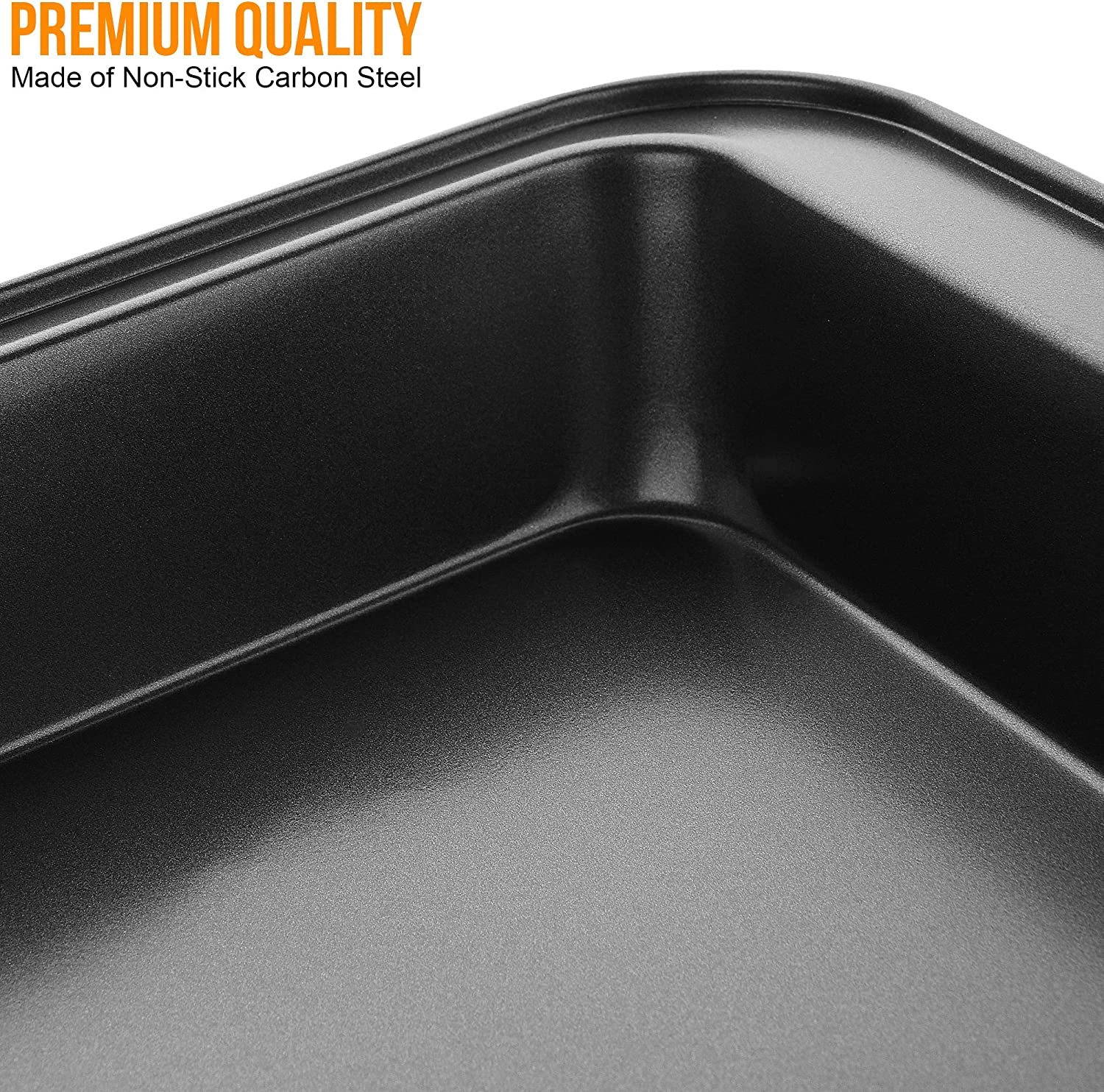 EVELYN LIVING Roasting Tray Non Stick Set of 3 Baking Oven Trays Tins Rectangular Bakeware Carbon Steel Material Kitchen Cooking Home