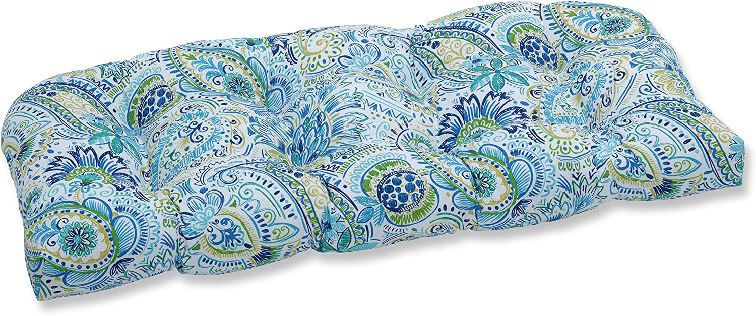 """Pillow Perfect Outdoor/Indoor Gilford Baltic Tufted Loveseat Cushion, 44"""" x 19"""", Blue"""