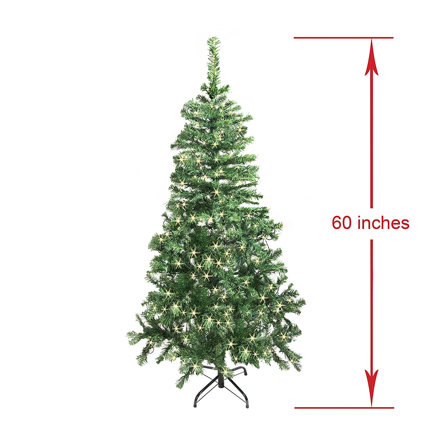 Amazon.com: ALEKO CT60H250WH Luscious 5 Foot Lit Christmas Tree with ...