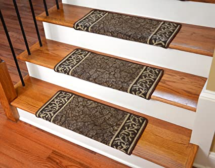 Dean Modern DIY Bullnose Wraparound Non Skid Carpet Stair Treads   Garden  Path Brown