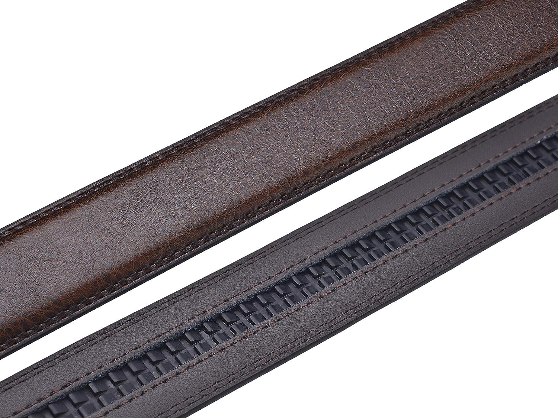 "HJones Mens Automatic Buckle Belt Ratchet Belt Replacement Strap 1 3//8/"" Leather Belt Without Buckle Jeans/… Brown, 110cm"