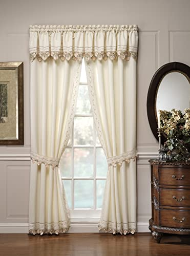 Today s Curtain Regal Reverse Embroidery 84-Inch Panel Pair and Tiebacks, Ecru Peach