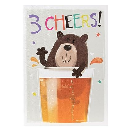 Tarjeta de cumpleaños Hallmark para él «3 CHEERS!», mediana ...
