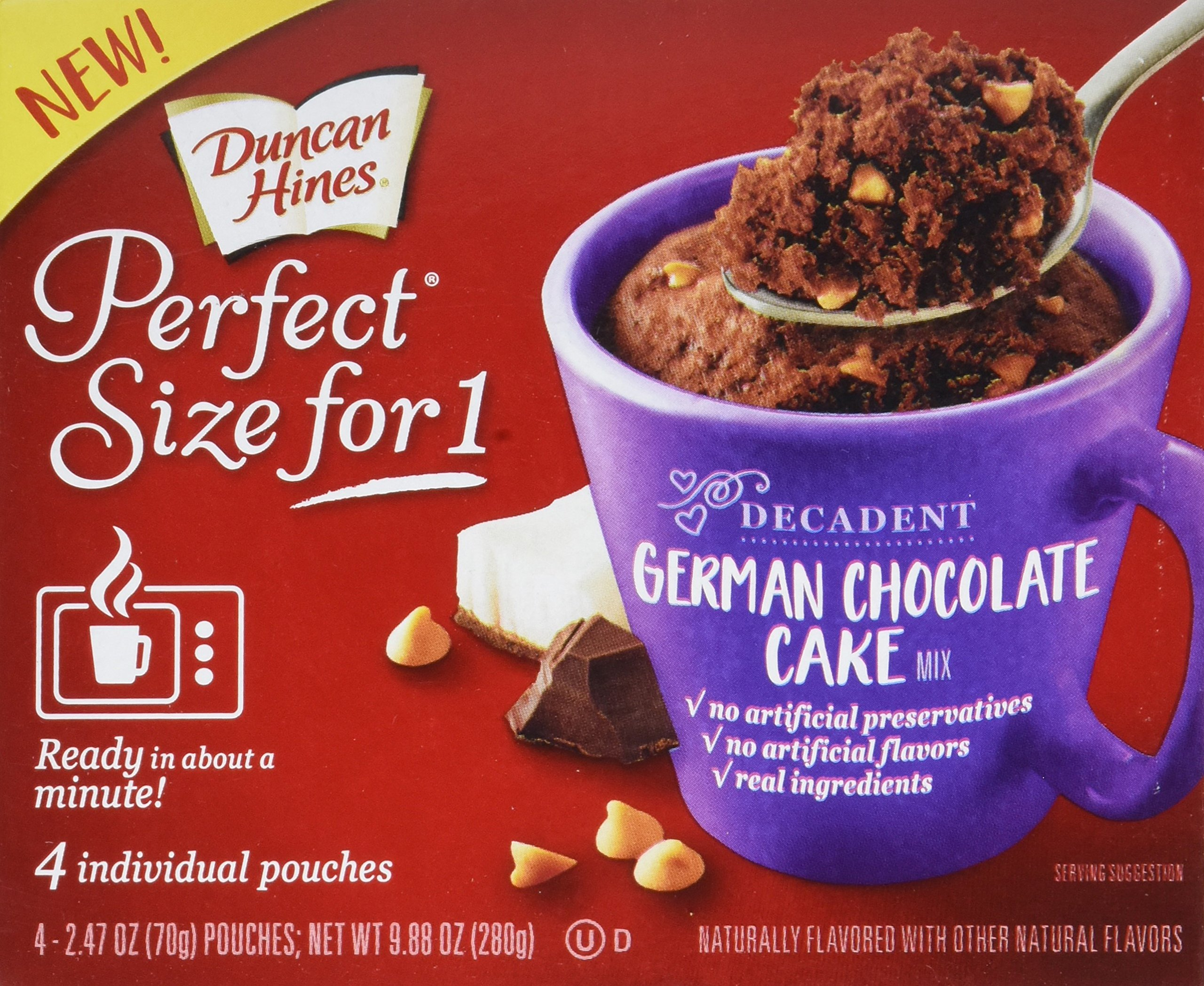 Duncan Hines Perfect Size for 1 Mug Cake Mix, Ready in About a Minute, German Chocolate Cake, 4 individual pouches