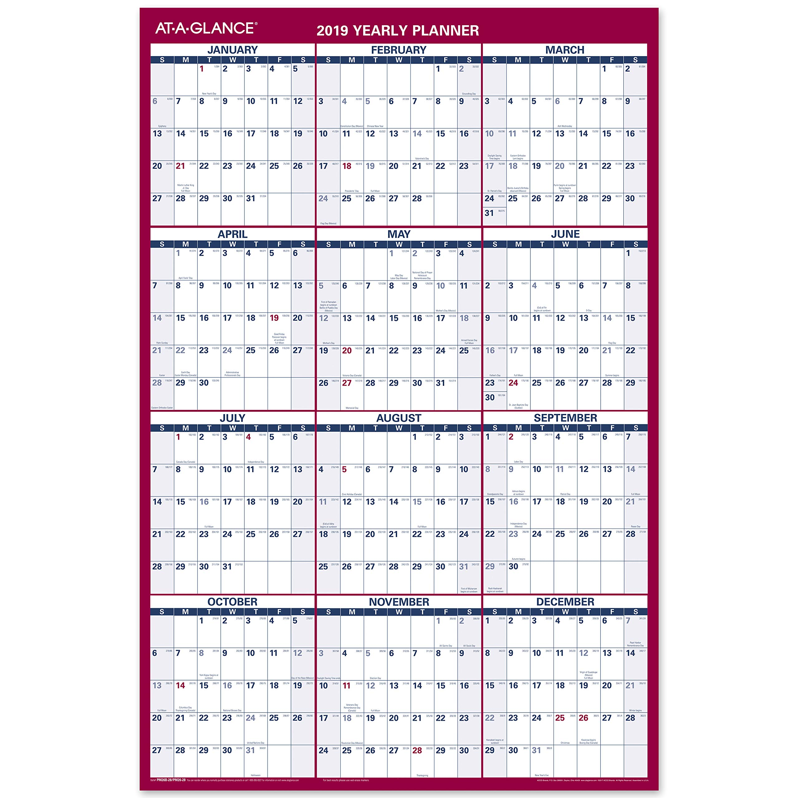 AT-A-GLANCE 2019 Yearly Wall Calendar, 36'' x 24'', Large, Erasable, Dry Erase, Reversible, Vertical/Horizontal, Blue/Red (PM2628) by AT-A-GLANCE