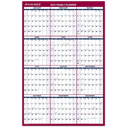 amazon com at a glance 2019 yearly wall calendar 36 x 24 large