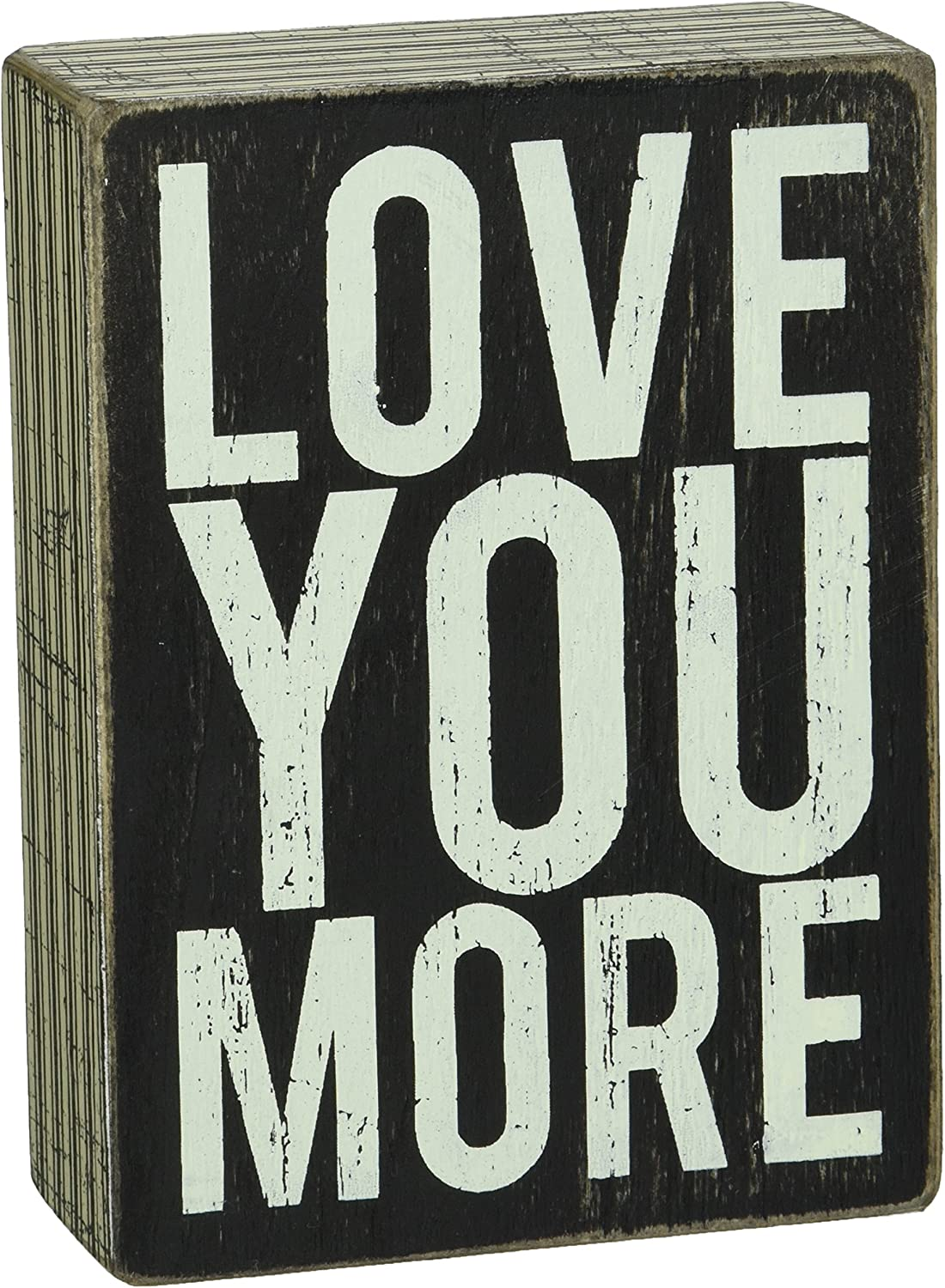 Primitives by Kathy Pinstriped Trimmed Box Sign, 4 by 5.5-Inch, Love You More