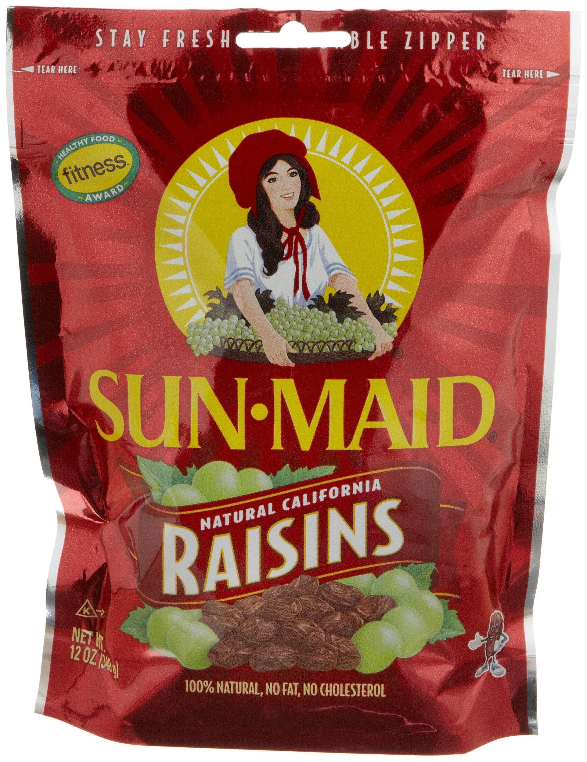 Sun Maid California Raisins, 12-Ounce Pouches (Pack of 6)
