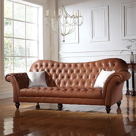 DIVANO ROMA FURNITURE Classic Tufted Real Italian Leather Tufted Victorian Sofa - Real Italian Leather (Light Brown)