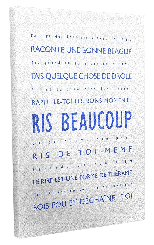 Feel Good Art Moderne et Typographique Toile sur Cadre Mural de Style Ris Beaucoup Rouge 30 x 20 cm LM128-09FR