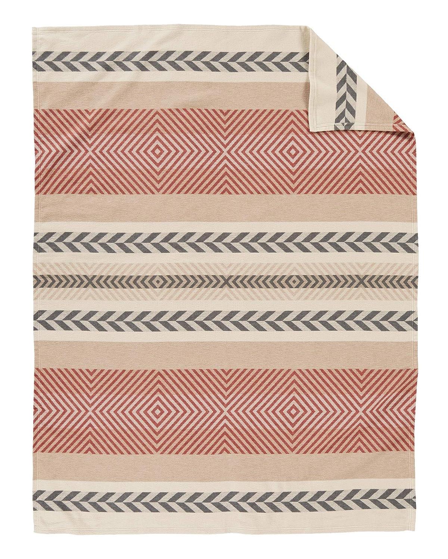 Beige King Size Pendleton Woolen Mills 72557 9853 KING Pendleton Mojave Cotton Jacquard Blanket