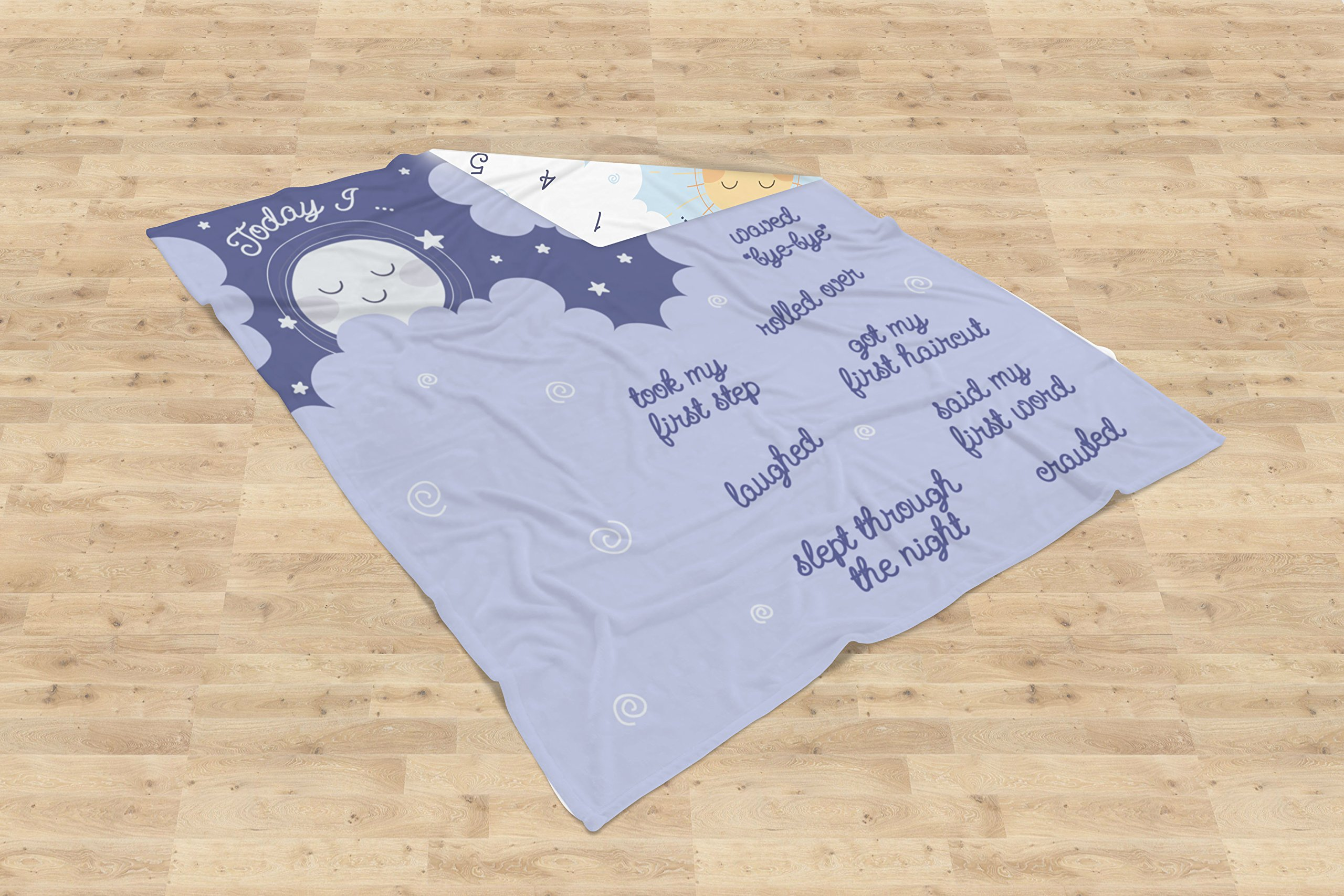 Double Sided Monthly Baby Milestone Blanket- Month Blanket for Baby Pictures | Photo Blanket with Baby Photo Props | Monthly Blankets for Newborns | Baby Boy and Girl Milestone Blanket by Scheuer Brand (Image #9)