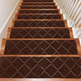 Seloom Stair Treads Carpet Non-Slip with Non Skid Rubber Backing Specialized for Indoor Wooden Steps, Removable Washable Step