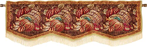 HomeCrate Fall Harvest Collection, Bushel Basket Pumpkins Apples and Grapes Design, Tapestry 60 x 15 Window Valance