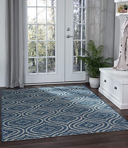 Tayse Varuca Indigo Outdoor 9×12 Rectangle Area Rug for Living, Bedroom, or Dining Room – Geometric