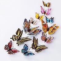 Mariposas Decorativas 3D Pared, 12 Piezas Pegatinas Magnéticas de Mariposa Luminosas Extraíbles y Reutilizables de Doble…