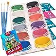 Face Paint Kit for Kids - 30 Stencils, 12 Large Metallic Face Paint, 3 Brushes, Safe Facepainting for Sensitive Skin, Professional Metallic Body Paint Halloween Makeup Paint Supplies