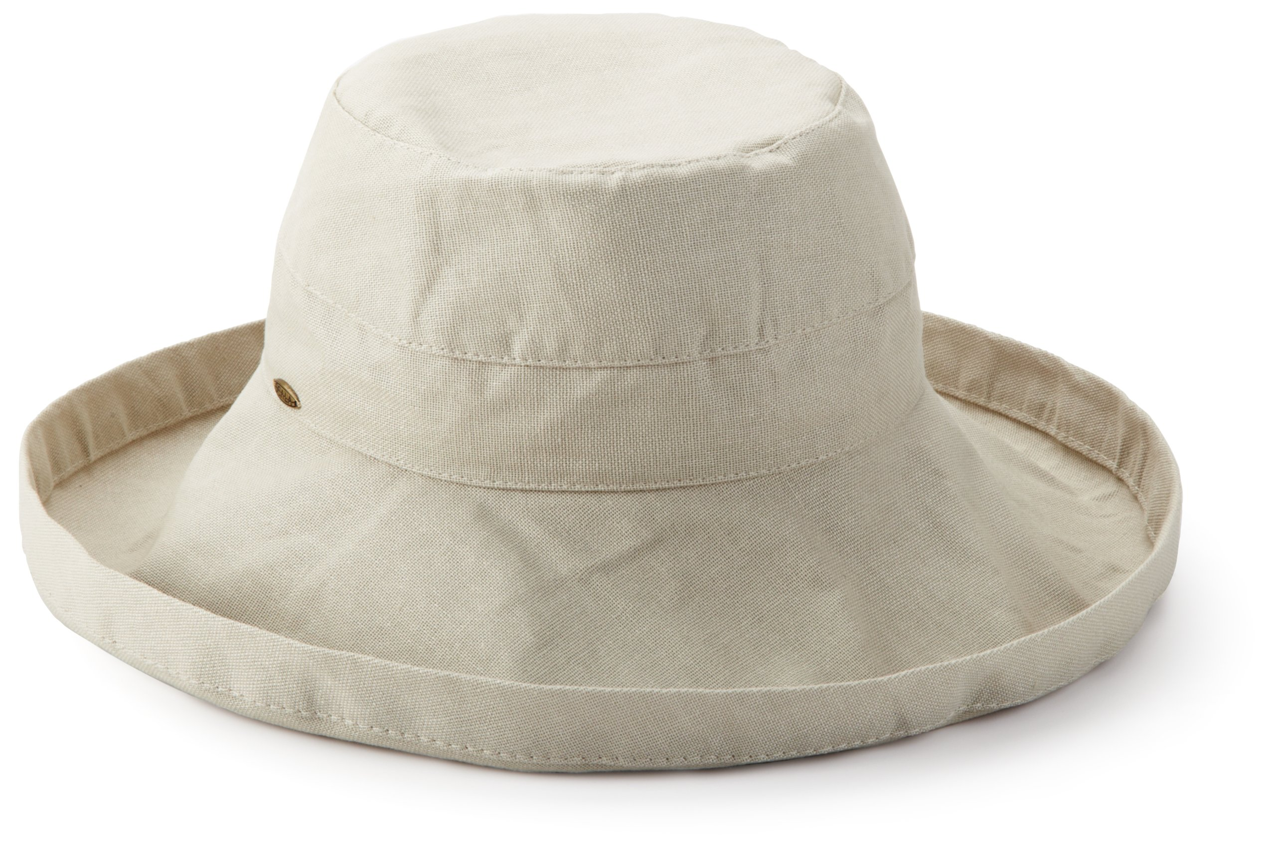 Scala Women's Cotton Hat with Inner Drawstring and Upf 50+ Rating,Oatmeal,One Size
