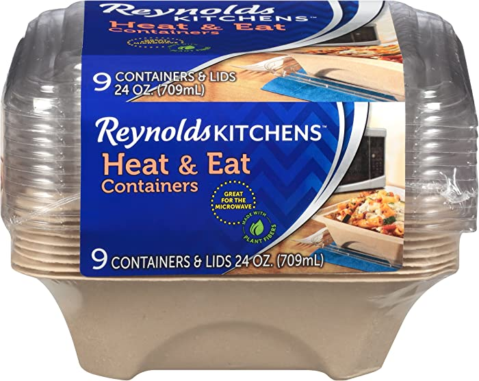 Reynolds Kitchens Heat & Eat Containers (Disposable, 24 Ounce, 9 Count)