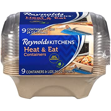 Reynolds Kitchens Heat U0026 Eat Containers (Disposable, 24 Ounce, 9 Count)