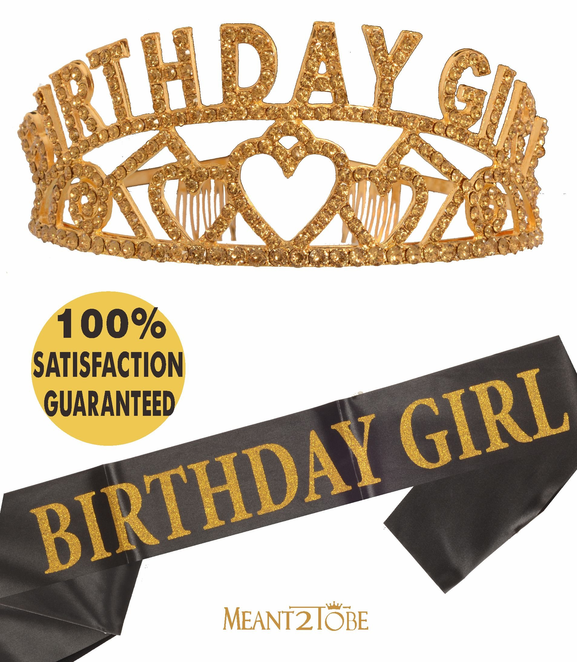 Meant2ToBe Birthday Girl Sash and Tiara, Birthday Girl Sash and Crown, Happy Birthday Party Supplies, Favors, Decorations 13th, 16th, 21st, 30th, 40th, 50th, 60th, 70th, 80th, 90th Birthday (Gold)