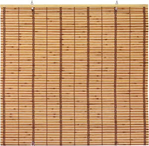 "ORIENTAL Furniture Burnt Bamboo Cordless Window Shade - Two-Tone Honey 60"" W"