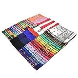 Bandana, 12 Pack 100% Cotton Bandanas for Women Men with Paisley, Flags & More