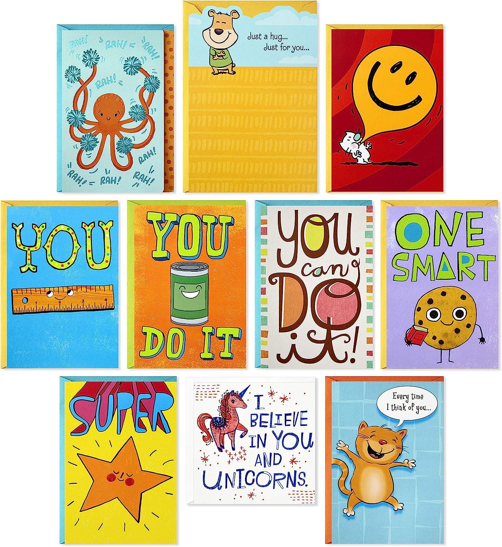 Hallmark Kids Encouragement Cards Assortment (Pack of 10 Cards with Envelopes)