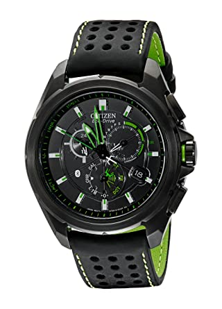 76c65231f Amazon.com: Citizen Men's AT7035-01E Eco-Drive Black Stainless Steel Watch  with Green Accents: Watches