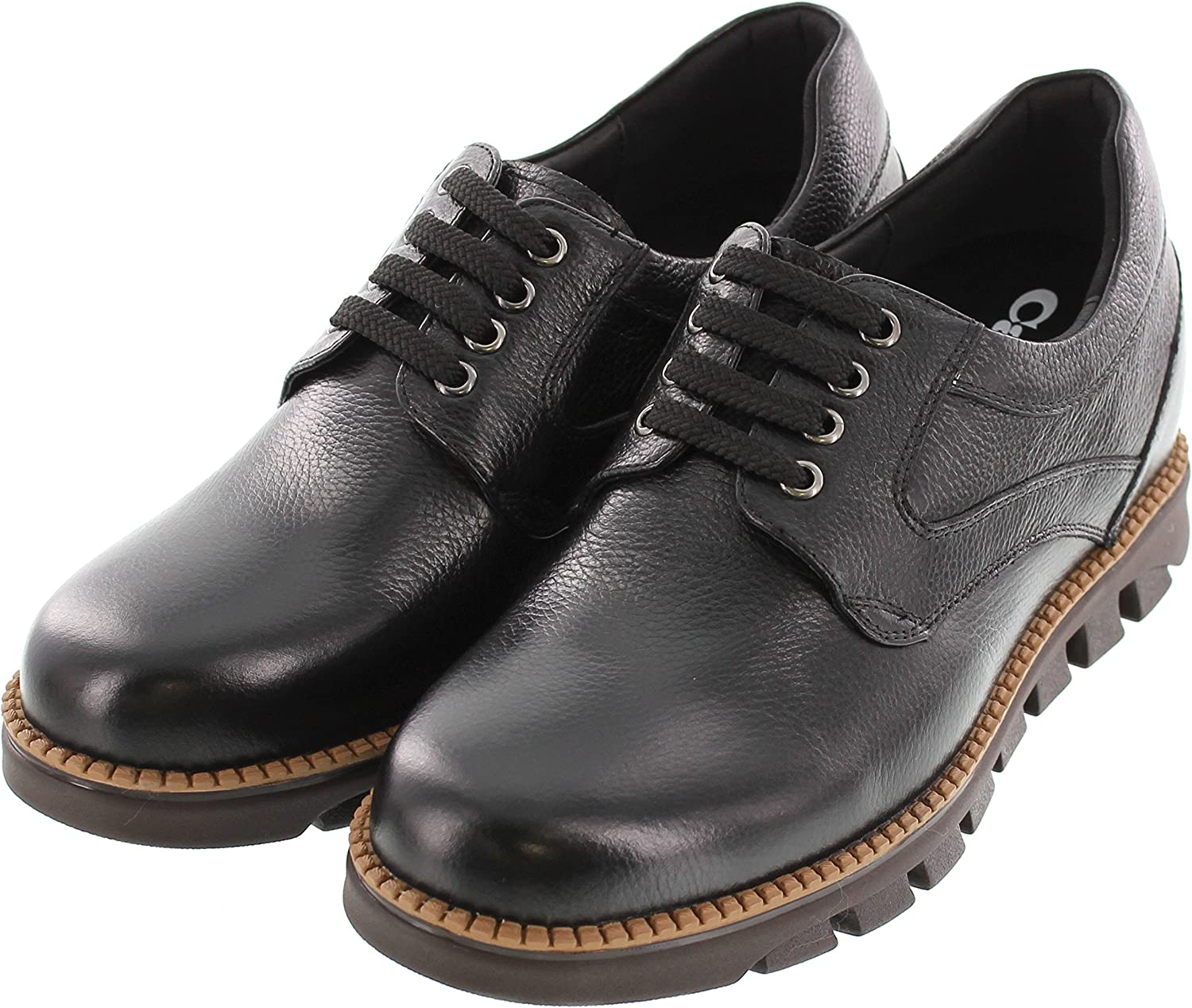G63812 CALTO Mens Invisible Height Increasing Elevator Shoes 3 Inches Taller Black Leather Pebble Grain Leather Lace-up Casual Shoes