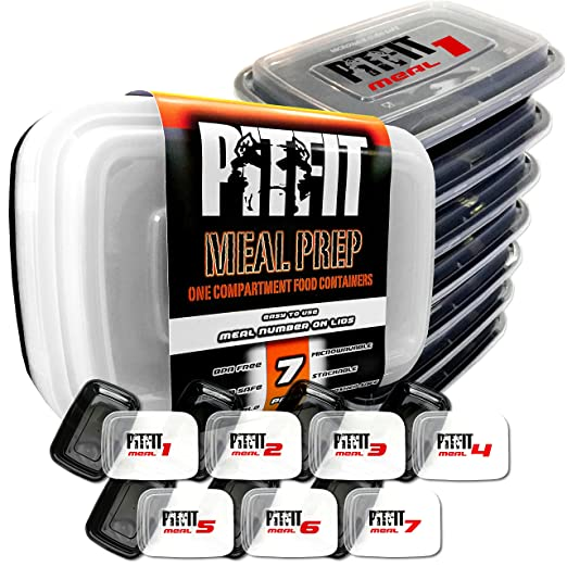 pitfit comida Prep recipientes con números de comida en tapas, sin ...