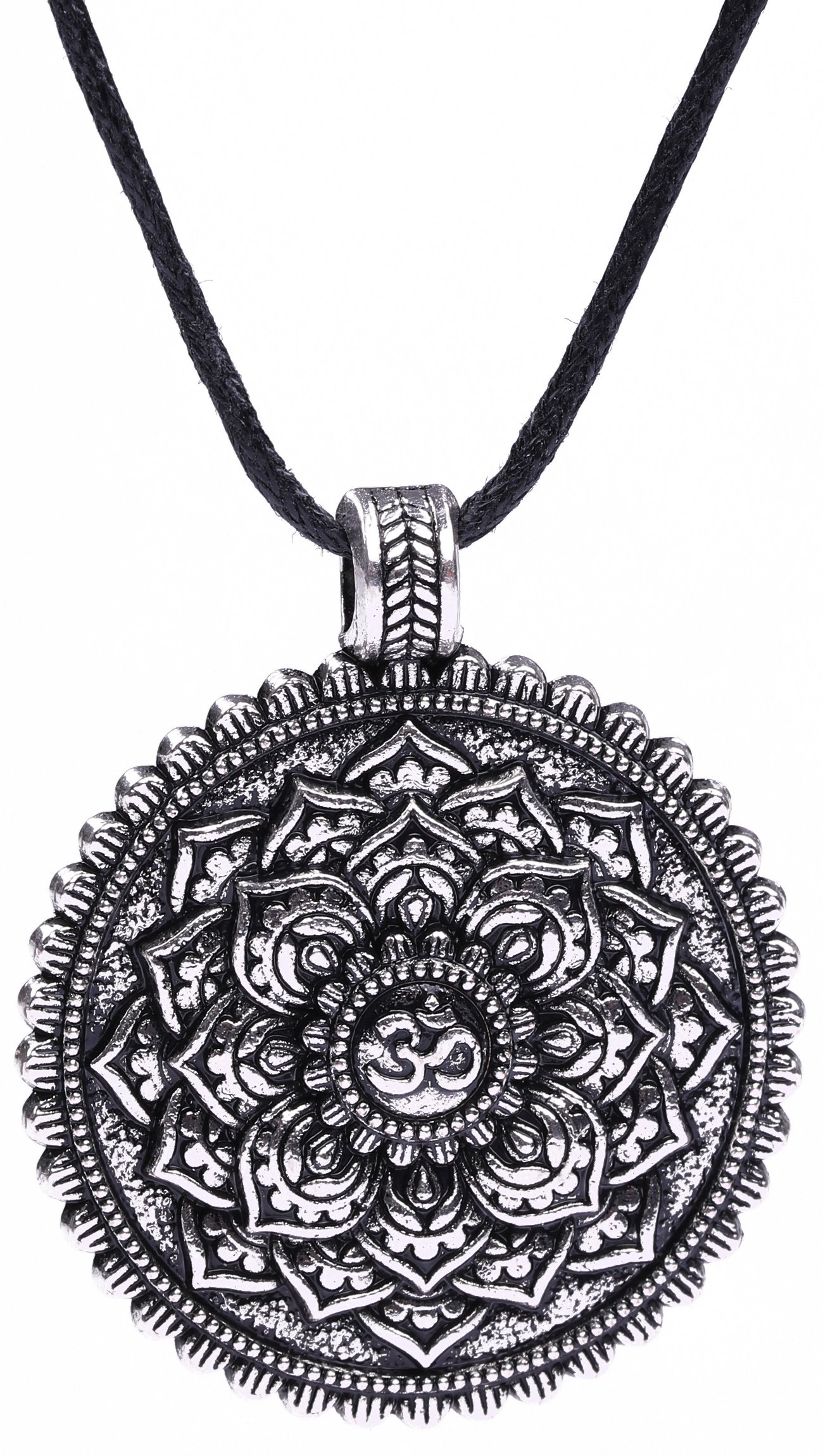Wicca Flower of Life OM Yoga Balance of Life Round Coin Pendant Necklace (Antique Silver)