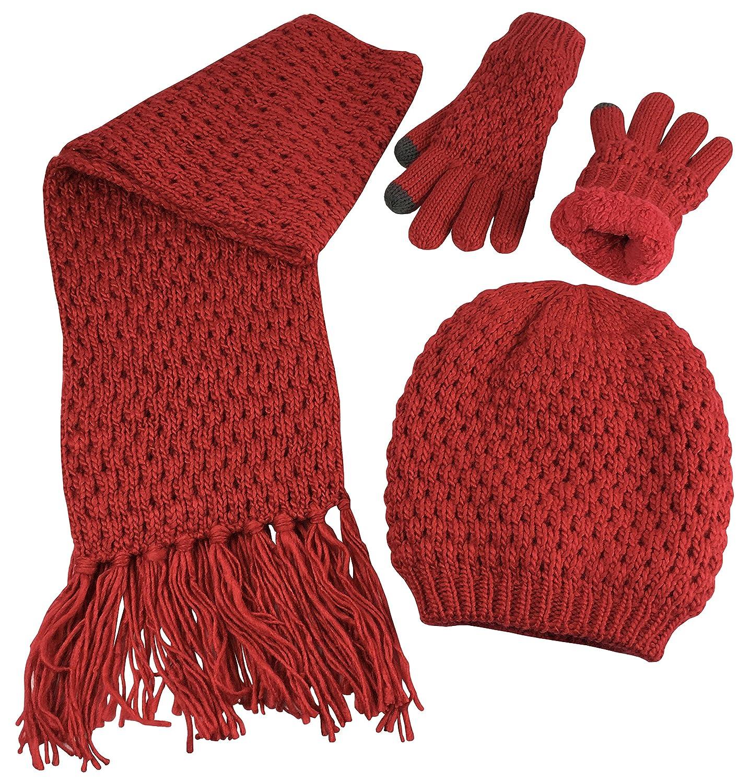 N'Ice Caps Big Girls Sherpa Lined Popcorn Stitch Beanie Gloves Scarf 3PC Set 2121-G