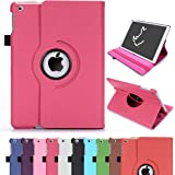 iPad Air Case, RC iPad Air 360 Rotating Smart Case PU Leather Cover Stand for Apple iPad 5 Air 1 Sleep/Wake (Hot Pink)