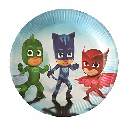 """PJ Masks Paper Plates, Large Round 9"""" inch Dinner plates, Partyware Tableware Party"""