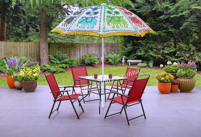 Hare Krishna Paraguas de jardín Hecho a Mano al Aire Libre Sombrilla de Parasol Grande 177 x 228 Cm: Amazon.es: Hogar