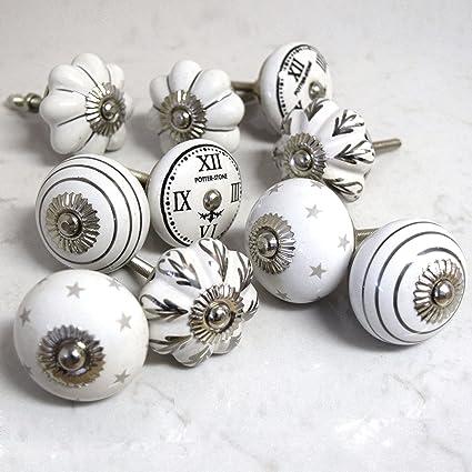 Set 10 maniglie pomelli di ceramica per mobile armadio grigio bianco ...