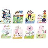 Jodds Children's mixed glittered birthday cards pack 1